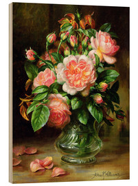 Cuadro de madera  English Elegance Roses in a Glass - Albert Williams