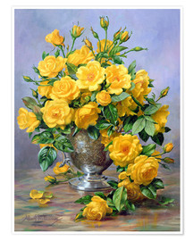 Póster Bright Smile - Roses in a Silver Vase