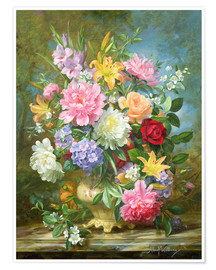 Póster  Peonies and mixed flowers - Albert Williams