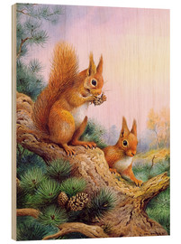 Cuadro de madera  Pair of Red Squirrels on a Scottish Pine - Carl Donner