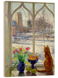 Cuadro de madera  Snow Shadows and Cat - Timothy Easton