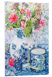 Forex  Gerberas in a Coalport Jug with Blue Pots - Joan Thewsey