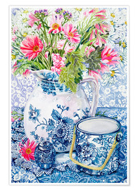 Póster  Gerberas in a Coalport Jug with Blue Pots - Joan Thewsey