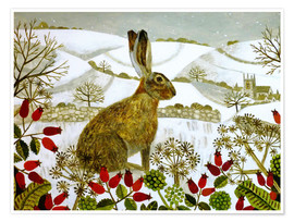 Póster  Seated Hare in Snow - Vanessa Bowman