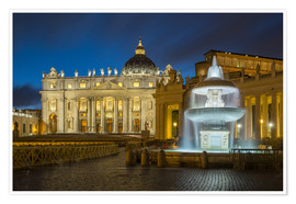 Póster Fountain at the St. Peters square Roma