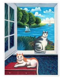 Póster  Cats and Sea - Jerzy Marek