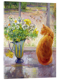 Metacrilato  Cat with Flowers in the window - Timothy Easton