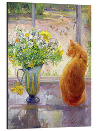 Cuadro de aluminio  Cat with Flowers in the window - Timothy Easton