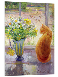 Cuadro de PVC  Cat with Flowers in the window - Timothy Easton