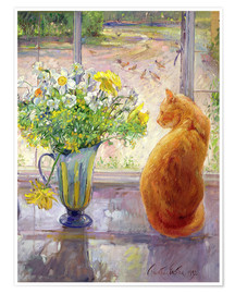 Póster  Cat with Flowers in the window - Timothy Easton