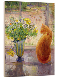 Madera  Cat with Flowers in the window - Timothy Easton