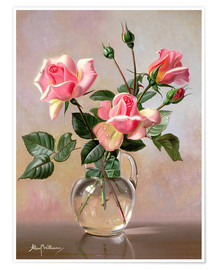Póster  Pink Roses in a Glass Jug - Albert Williams