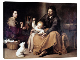 Lienzo  The Holy Family with the Little Bird - Bartolome Esteban Murillo