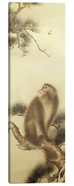 Lienzo  Monkey watching a dragonfly - Japanese School