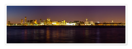 Póster  Liverpool skyline at night Panorama - Thomas Hagenau