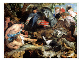 Póster  Hunting a Wild Boar - Peter Paul Rubens