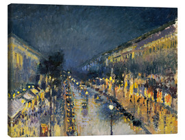 Lienzo  The Boulevard Montmartre at Night, 1897 - Camille Pissarro