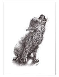 Póster Young Howling Wolf