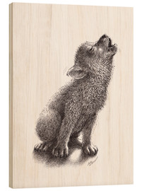 Cuadro de madera  Young Howling Wolf - Stefan Kahlhammer