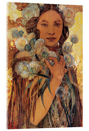 Metacrilato  Native American Woman with Flowers and Feathers - Alfons Mucha