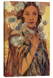 Lienzo  Native American Woman with Flowers and Feathers - Alfons Mucha