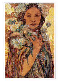 Póster  Native American Woman with Flowers and Feathers - Alfons Mucha