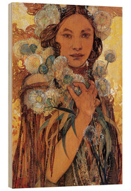 Madera  Native American Woman with Flowers and Feathers - Alfons Mucha