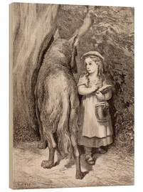 Cuadro de madera  Scene From Little Red Riding Hood By Charles Perrault - Gustave Doré