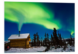 Cuadro de PVC  Northern Lights over a hut - Kevin Smith