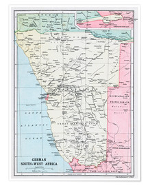 Póster Map Of German South-West Africa