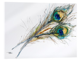 Tara Thelen - Watercolor of two peacock feathers