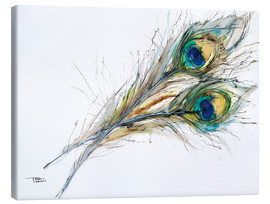 Lienzo  Watercolor of two peacock feathers - Tara Thelen