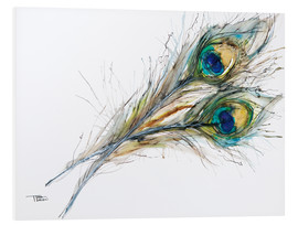 Cuadro de PVC  Watercolor of two peacock feathers - Tara Thelen