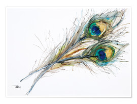 Póster  Watercolor of two peacock feathers - Tara Thelen