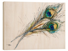 Madera  Watercolor of two peacock feathers - Tara Thelen