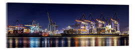 Cuadro de metacrilato  Hamburg harbor panorama at night - Daniel Heine
