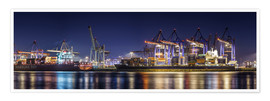 Póster Hamburg harbor panorama at night