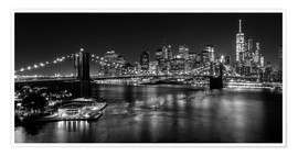 Póster  New York City by Night (monochrome) - Sascha Kilmer