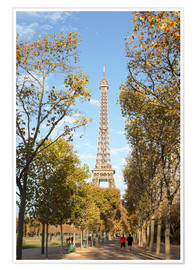 Póster Eiffel tower in autumn, Paris, France