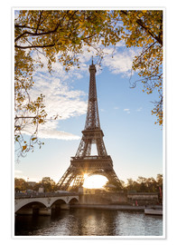 Póster  Jena bridge and Eiffel tower in autumn, Paris, France - Matteo Colombo