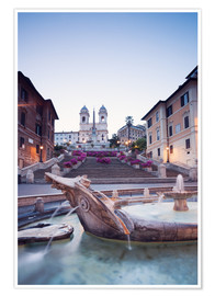Póster Famous Spanish Steps and Bernini fountain, Rome, Italy