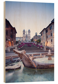 Cuadro de madera  Famous Spanish Steps and Bernini fountain, Rome, Italy - Matteo Colombo