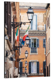 Cuadro de aluminio  Street in the centre of old town with italian flags, Rome, Italy - Matteo Colombo