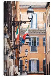 Lienzo  Street in the centre of old town with italian flags, Rome, Italy - Matteo Colombo
