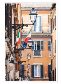 Póster  Street in the centre of old town with italian flags, Rome, Italy - Matteo Colombo