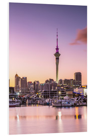 Cuadro de PVC  Skyline of Auckland city and harbour at sunrise, New Zealand - Matteo Colombo