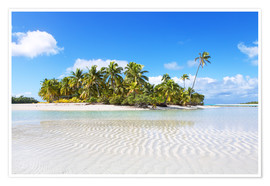 Póster Tropical beach with palm trees, One Foot Island, Aitutaki, Cook Islands