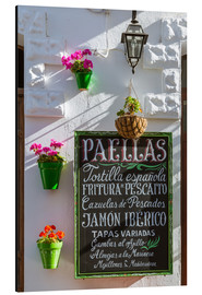 Cuadro de aluminio  Typical whitewashed ornate wall and paella sign, Andalusia Spain - Matteo Colombo