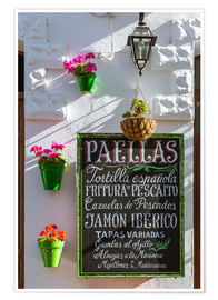 Póster  Typical whitewashed ornate wall and paella sign, Andalusia Spain - Matteo Colombo