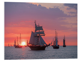 Cuadro de PVC  Sailing ships on the Baltic Sea in the evening - Rico Ködder